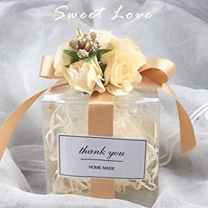 VGOODALL Clear Favor Boxes,100pcs Plastic Gift Boxes Transparent Cube Boxes PET Boxes for Wedding,Party,Baby Shower,Bridal Shower (Color: White, Tamaño: Clear Favor Boxes)