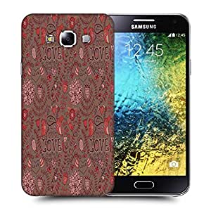 Snoogg Love Brown Pattern Printed Protective Phone Back Case Cover ForSamsung Galaxy E5
