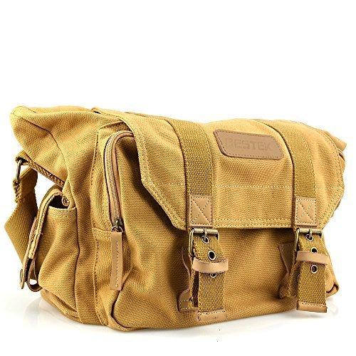 BESTEK® Waterproof Canvas SLR DSLR Digital Camera Bag Case Casual Shoulder Bag with Shockproof Insert