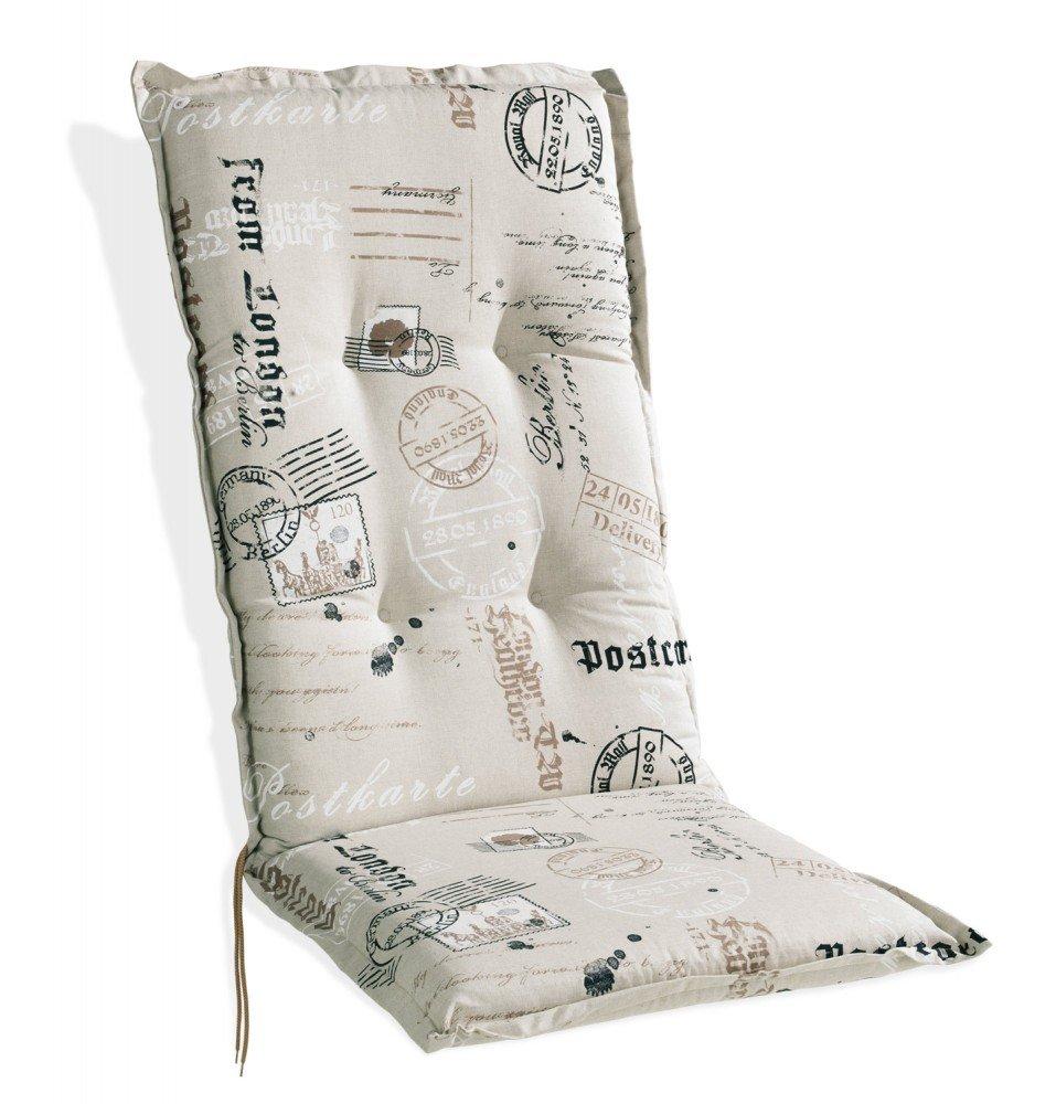 Sesselauflage Polsterauflage sand mit Motivdruck für Hochlehner Stamps 1 günstig online kaufen