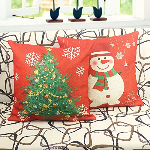 Washable Zippered Throw Pillow Covers : Homar Pillow Covers - Christmas Tree Decorative Throw Pillow Case - Washable Square Red Cotton ...