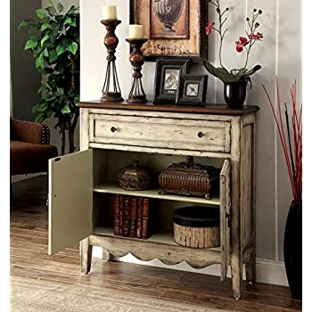 Furniture of America Gladen Vintage Style Storage Cabinet, Antique White/Brown