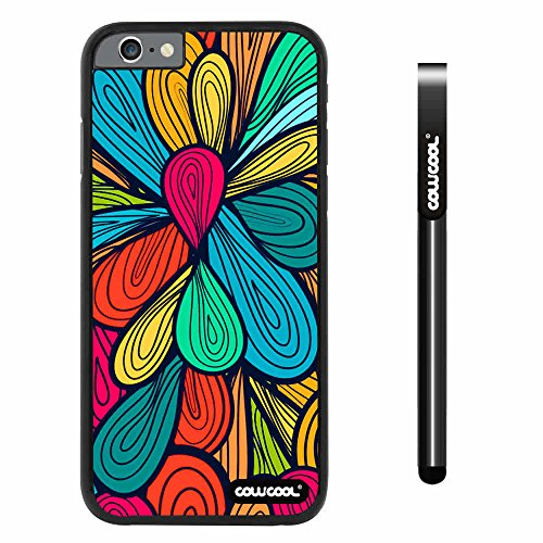 CowCool® Apple iphone 6 4.7 inch Case Hard PC Colorful Petal Plaid Totem Black Shell Single Layer Protective Case (#13)