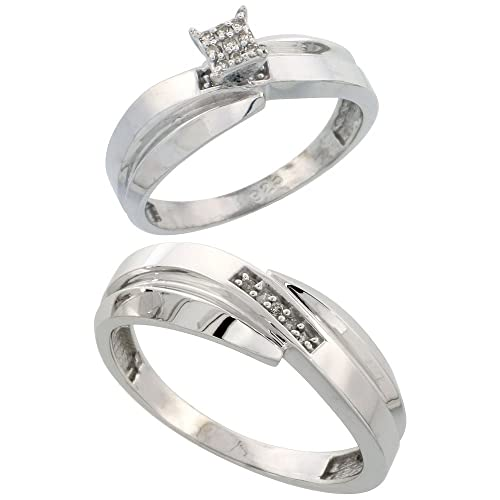 Sterling Silver 2-Piece Diamond Ring Set, 6mm Engagement Ring & 7mm Man's Wedding Band