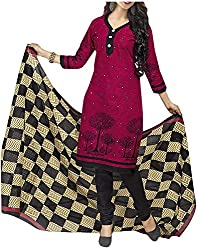 PRANJUL Women's Cotton Unstitched Dress Material (Rose)