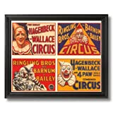 Vintage Circus Poster Ad Clown Home Decor Wall Picture Black Framed Art Print