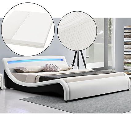 Polsterbett Malaga 140 x 200 cm LED Kopfteil - weiß mit Kaltschaummatratze