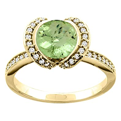 14ct White/Yellow Gold Natural Peridot Ring Round 7mm Diamond Accent 7/16 inch wide, sizes J - T