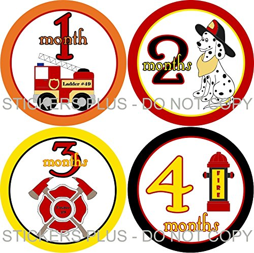 Baby Boy Month Stickers Monthly Baby Milestone Stickers Bodysuit Age Stickers Fireman Firemen Fire Fighter Truck Dog Hydrant Baby Age Stickers
