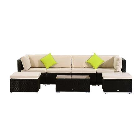 Outsunny Polyrattan Gartenmöbel 21tlg. Rattan Gartenset Sitzgruppe Loungeset Loungemöbel Gartengarnitur