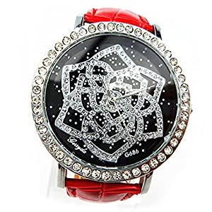 Elegant Women's Girl's Unique Camellia Pattern Rhinestone Leather Band Wrist Watch (Red)