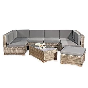 XXL Rattanmöbel Gartenset grau aus Polyrattan Lounge Gartenmöbel Sitzgruppe