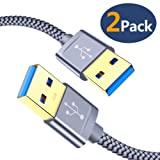 USB 3.0 A to A Male Cable, JSAUX USB to USB Cable 2 Pack(3.3ft+6.6ft) USB Male to Male Cable Double End USB Cord with Gold-Plated Connector for Hard Drive Enclosures, DVD Player, Laptop Cooler (Grey) (Color: Grey, Tamaño: male to male)