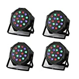 RGB 18×3W LED PAR Party Lights DJ Disco Lights Sound Activated DMX-512 Stage Lighting for Wedding KTV Show Club Bar Karaoke (4PCS) (Color: 4PCS)