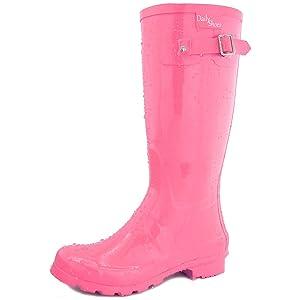 Women's DailyShoes Mid Calf Knee High Hunter Rain Boot Round Toe Rainboots, 12