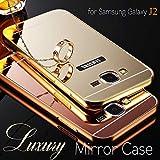 Samsung Galaxy J2 Case, Luxury Aluminium Bumper With Mirror Acrylic Cover For Samsung Galaxy J2 Case, - Gold