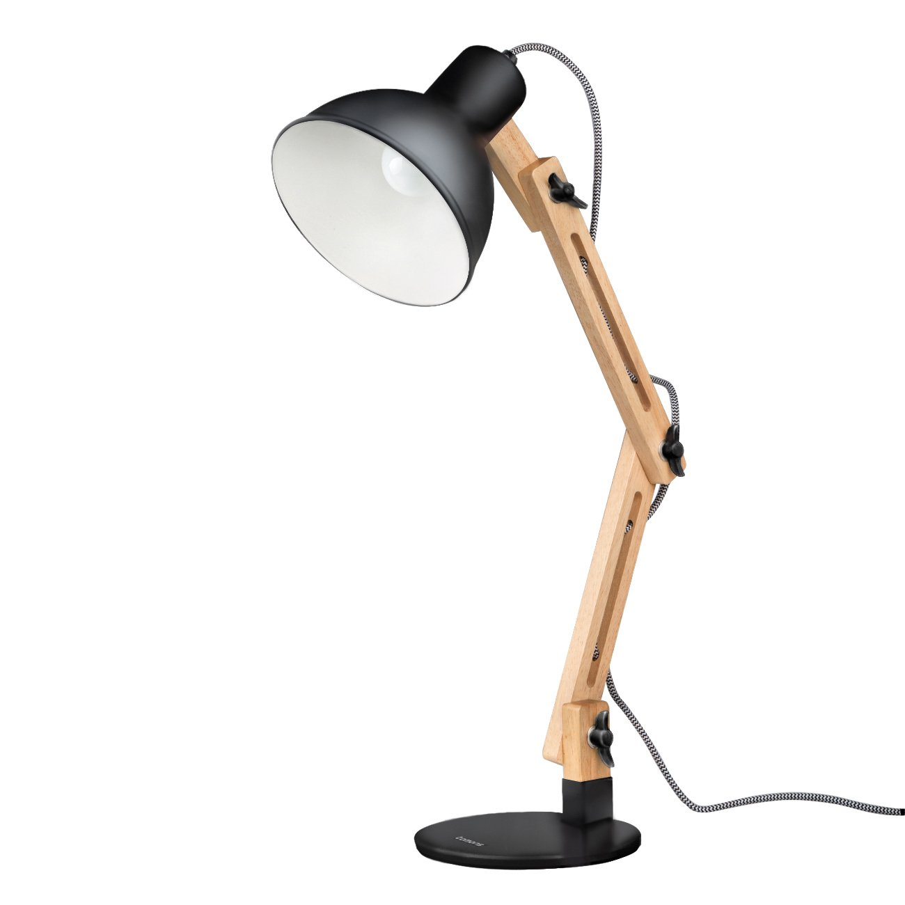 Tomons Scandinavian Swing Arm Wood Desk Lamp, Black 0