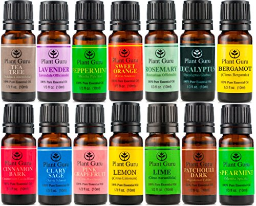 Essential Oil Variety Set- 14 Pack - 100% Pure Therapeutic Grade 10Ml. Set Includes- (Bergamot, Clary Sage, Cinnamon Bark, Eucalyptus, Grapefruit, Lavender, Lemon, Lime, Patchouli, Peppermint, Rosemary, Spearmint, Sweet Orange & Tea Tree)