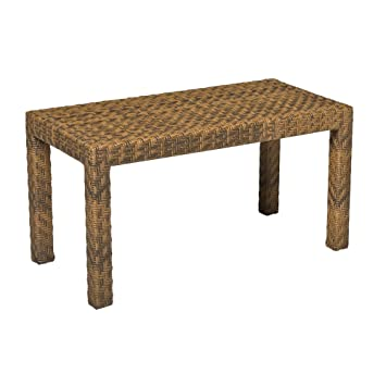 Whitecraft by Woodard Domino Rectangular Wicker Coffee Table