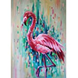 Diamond Painting Kits for Adults - 5D DIY Round Diamond Number Kits with Full Drill - Crystal Rhinestone Diamond Embroidery Paintings Great for Home, Office, Wall Decor 15.7×11.8 inch (Flamingo) (Color: Flamingo)