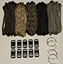 "550 Paracord Kit - Five Colors (Olive Drab, ACU, Woodland Camo, Desert Camo, & Black) 100 Feet Total w/10 3/8"" Black Side Release Buckles & (5) 32mm Key Rings"
