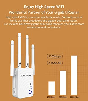 GALAWAY WiFi Range Extender, 1200Mbps WiFi Extender with 4 External Antennas Dual Band Mini Wireless Signal Booster with Ethernet Port WiFi Range Amplifier (Color: G00)