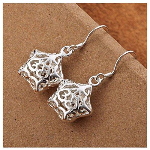 HMILYDYK Original Massiv 925 Silber Silber Jewelry Charm/Anhänger, Stern, Silber-Schmuckset: Anhänger und Ohrringe