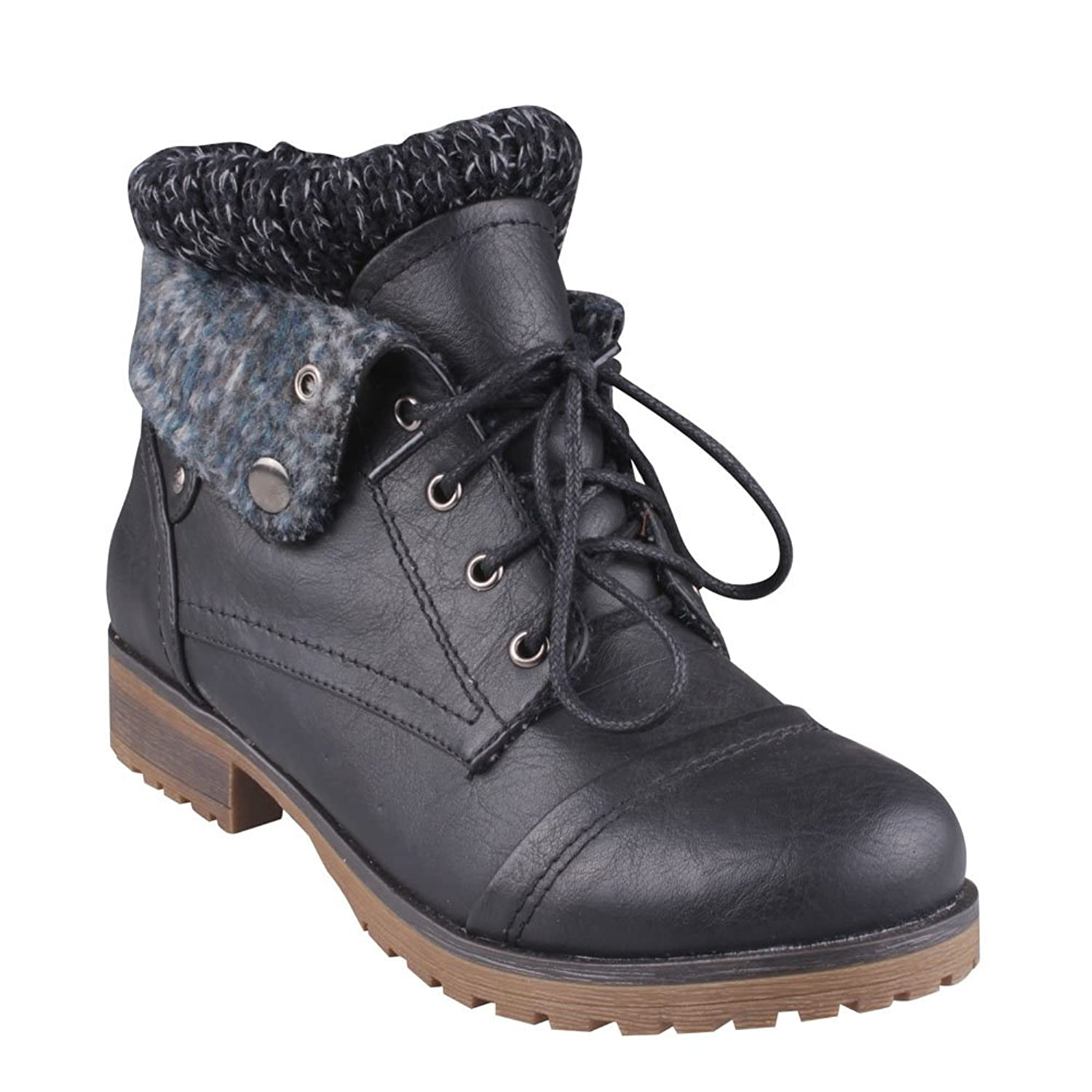 Refresh Wynne 01 Womens Combat Style Lace Up Ankle Bootie