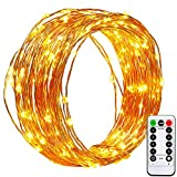 [Remote&Timer]Dimmable Battery Operated Christmas String Lights with Timer,easyDecor Copper Wire 100 LED 33ft Warm White Waterproof Decorative Fairy Rope for Thanksgiving,Bedroom,Indoor,Outdoor,Party