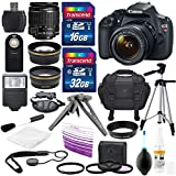 Canon EOS Rebel T5 18MP DSLR Digital Camera - US Warranty & Canon EF-S 18-55mm f 3.5-5.6 IS II + HD 58mm wide angle & Telephoto professional Lens & Total of 48 GB SDHC Class 10 + Deluxe Bundle