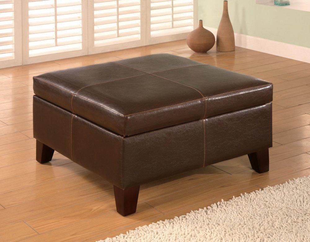 Coaster 501042 Dark Brown Leather Vinyl Storage Ottoman with Wood Legs - Coaster 501042 Dark Brown Leather Vinyl Storage Ottoman With Wood