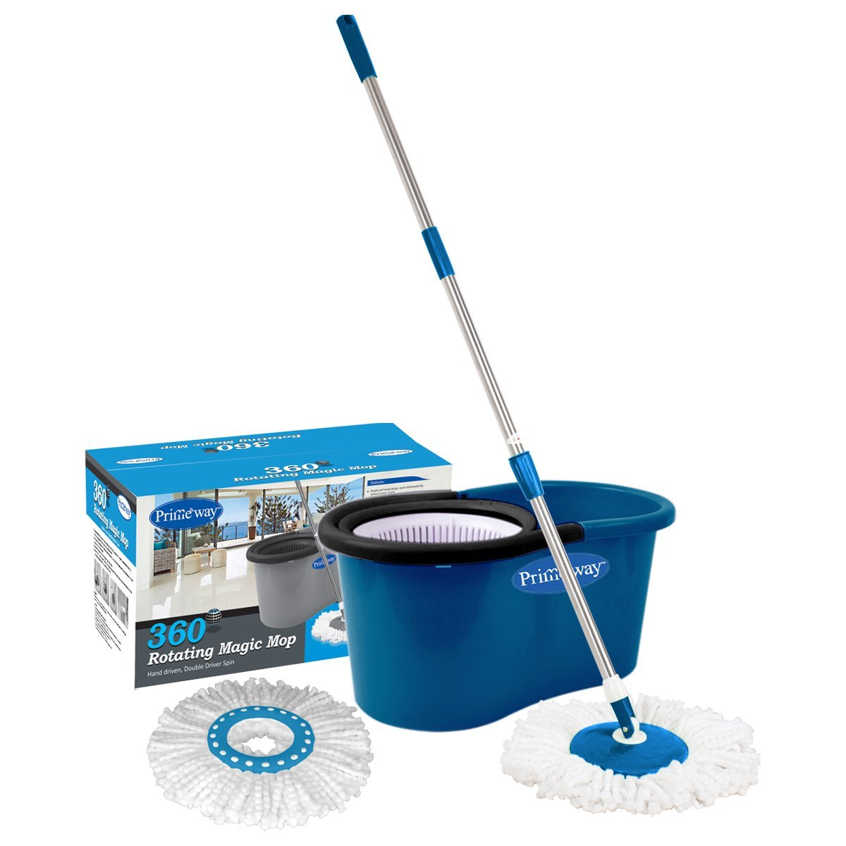 Primeway Pw266Me Double Driver Economy 360 Rotating Magic Mop and Bucket with 2 Microfibre Mop Heads (Dark Blue)