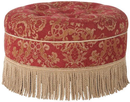 Red Floral and Fringe Round Ottoman - 1