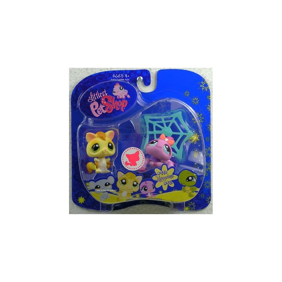 Littlest Pet Shop Happiest Pet Pairs Portable Collectible Gift Set   Sugar Glider (#990) and Purple Spider (#991) with Spider Web