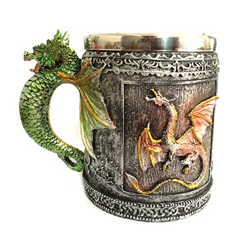 Mythical Green Royal Dragon Mug Serpent Handle Medieval Collectible Stein Halloween Magical Party Home Decor Gift