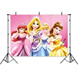 Vinyl Disney Princess Background 7x5 Pink Baby Shower Backdrop for Girl Seamless Photography Background Princess Birthday Banner Customized Name (Color: SSEM008)