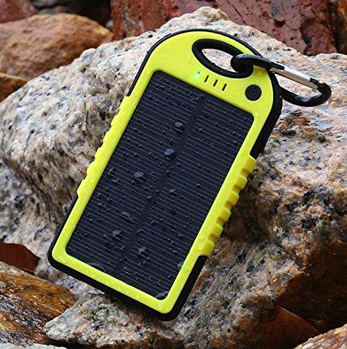 5000mAh防水/防塵/耐衝撃アウトドア向けソーラー 充電器 ソーラーバッテリー 大容量 iPhone・iPad・スマートフォン(スマホ)対応 LEDライト付 モバイルバッテリー /リチウムイオンポリマーバッテリー(LIT-SHOP) (イエロー)