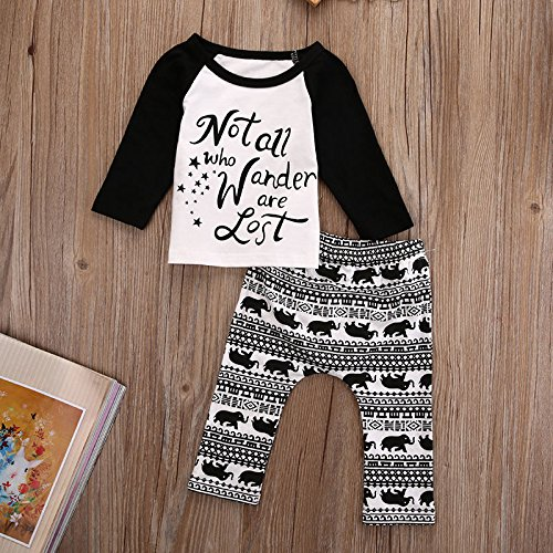 Newborn Baby Kids Boys Star Elephant Letter Print Tops+Pants Spring Fall Outfits