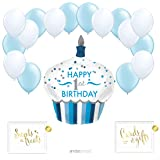 Andaz Press Balloon Party Kit with Gold Ink Signs, 1st Birthday Boy Cupcake with White and Baby Blue Latex Balloons, 19-Piece Kit (Color: Baby 1st Birthday Boy Cupcake)