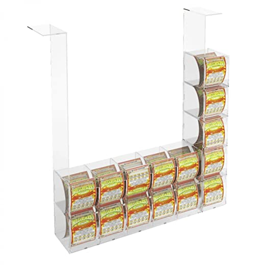 Acrylic scratch and win card holder display for attachment to ceiling – 10 horizontal containers containers and 5 lateral containers without locking door Dimensions: 29.53''W x 5.51'' D x 38.98'' T