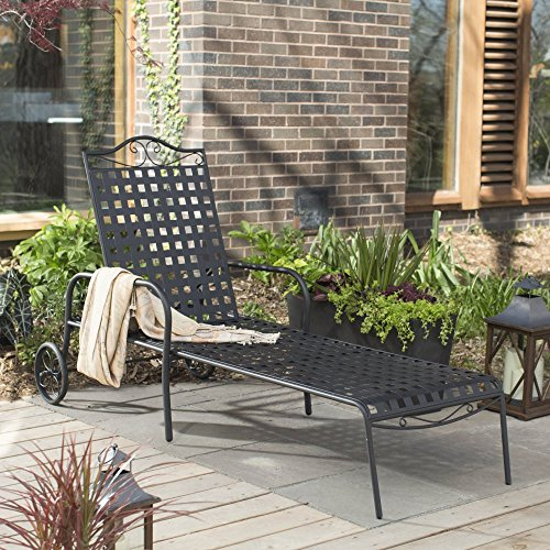 Woodard Capri Wrought Iron Multi-Position Single Outdoor Chaise Lounge (Wrought Iron Chaise compare prices)