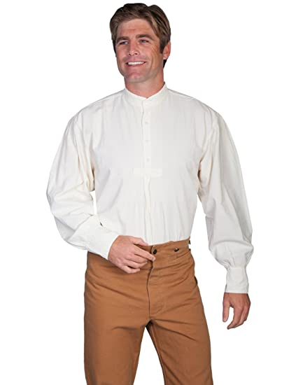 Victorian Men's Shirts- Wingtip, Gambler, Bib, Collarless Pleated Front Puffed Sleeve Shirt  AT vintagedancer.com
