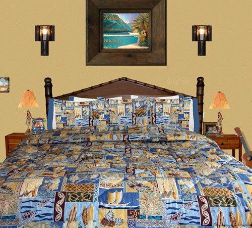Fancy Cheap Beach Bedding Sunset Beach Queen Full Comforter w Two Standard Shams