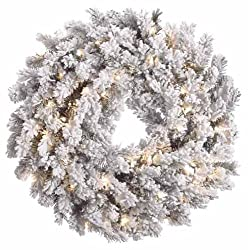 "30"" Pre-Lit Blackmore Snow Pine Flocked Artificial Christmas Wreath Clear Lights"