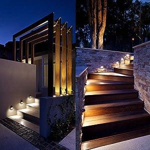 Lumina Low Voltage Landscape Lighting Cast-Aluminum Outdoor Deck and Step Light Warm White 10W G4 Halogen Bulb Included Garden Yard Decoration Lights for Stair Pathway Walkway Black DSL0103-BK2 (2PK) (Color: Halogen Black 2pk, Tamaño: 2PK)