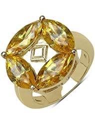 Suraabi 7.68CTW Yellow Cubic Zirconia 14K Yellow Gold Plated Brass Ring For Women