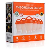 EGGY YO Silicone Hard Boiled Egg Cookers - 6 Egg Cooker Set with Holder and Timer - Boil Eggs Without Shell (Color: Red, White)