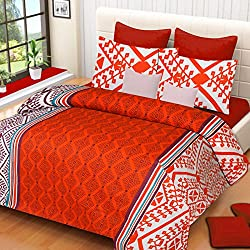 VCS Cotton Red White Pigment Printed Double Bedsheet With 2 Pillow Cover - Standard Size
