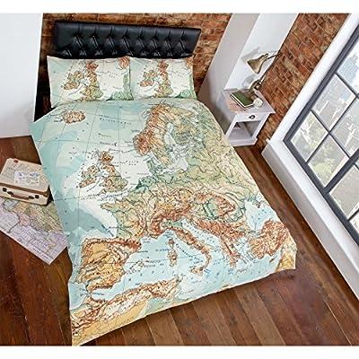 Urban Map Duvet Cover - Vintage Print Bedding Multi Coloured Green Blue Bed Set Multi Coloured Parent