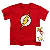 Popfunk Youth Flash Lightning Bolt Logo T Shirt For Boys & Exclusive Stickers (Size 5/6) (Color: Red, Tamaño: Juvenile (5/6))